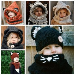 Wholesale Kids Knit Cat Beanie - 6 Styles Girls Hats Scarf Cat Fox Ear Baby Knitted Winter Kids Boys Girls Warm Shapka Caps Children Beanies Accessory CCA8753 30pcs