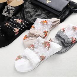 calze ultra sottili da donna Sconti Moda Donna Estate Calzini ultra sottili Graziosa rosa fiore trasparente calze a rete ragazze breve caviglia Ladies Crystal Sox