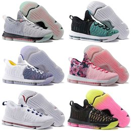 Wholesale Kevin Durant Shoes Colors - 19 Colors Air Zoom KD 9 Man Basketball Shoes KD9 Oreo Grey Wolf Kevin Durant 9s Men's Training Sport shoes US Size 7-12