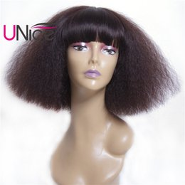 Wholesale Top Remy Wig - UNice Hair Remy Brazilian Kinky Curly Human Hair Wigs Cheap 100% Human Hair For Black Women Custom-design Color Top Women Wigs