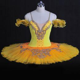 2019 tutus amarillo adulto Adulto bordado de plata profesional Ballte Tutus amarillo crepe cascanueces niñas vestido de ballet Bailarina Performance desgaste de la danza tutus amarillo adulto baratos