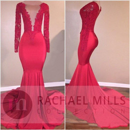 Wholesale Long Petite Evening Dresses - 2K17 African Red Custom Mermaid Illusion Prom Party Dresses Formal Evening Celebrity Gowns Tiered Train With Long Sleeves 2018 Prom Dress