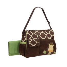 Wholesale Diaper Bag Pieces - 3 Pieces Large Capacity Waterproof Giraffe Print Mummy Diaper Bag Totes With Changing Mat