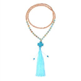 Wholesale wholesale long beaded necklaces - Handmade beaded necklace turquoise cross resin Natural stone necklace for women jewelry long tassel Pendant Necklaces Accessories wholesale