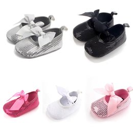 Wholesale Fancy Slips - 2017 Fancy Bling Bow Newborn Baby Girls Crib Shoes Toddler Sequins Lace Up Sneaker Prewalker