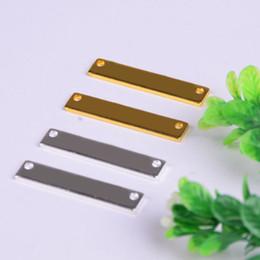 Etiquetas de sello online-50 unids oro / color plateado Placas en blanco Etiquetas de sellado de la mano Conector personalizado Barra DIY Metal Pulsera Resultados de la joyería