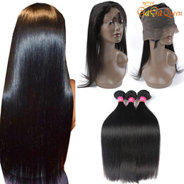Wholesale Hair Extensions Medium Brown - Brazilian Straight 360 Lace Frontal With 3 Bundles Brazilian Straight Hair Bundles With 360 Frontal Closure Brazilian Human Hair Extensions