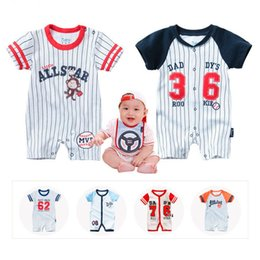 Wholesale Baby Bodysuits Short Sleeve - New Infant Rompers Summer Boys Girls Clothes Striped Newborn Baby Jumpsuit Short-sleeved Infant Jumpsuits Clothing Set Bodysuits