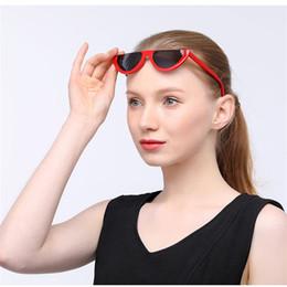 Wholesale Trendy Frames For Glasses - Cool Trendy Half Frame Rimless Cat Eye Sunglasses Women 2018 Fashion Clear Brand Designer Sun glasses For Female Oculos de sol
