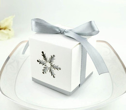 print squared paper Promo Codes - Snowflake candy box birthday wedding party square hollow favor boxes with grey ribbon bow Halloween Christmas event present gift wrap