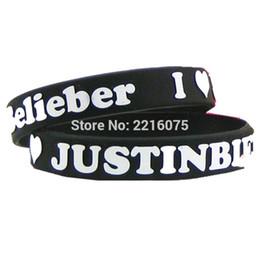 justin bieber armbänder silikon Rabatt 300pcs Prägedruck Justin Bieber Belieber Wristband Silikon Armbänder Freies Verschiffen durch DHL Eil