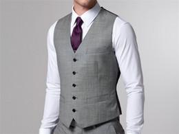 Casaco de casamento colete cinza on-line-Custom Made Cinza Do Noivo Do Casamento Coletes Homem Noivo Colete Formal Mens Suit Vest Nova Sytle 2018