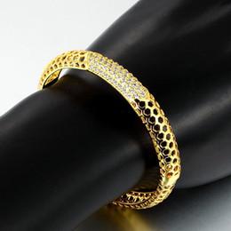 chaîne bracelet en diamant Promotion Noyau géométrique en forme de Bangle Dubaï 18K or jaune rempli éthiopien exquis Micro CZ Bracelet / bracelet à la mode arabe bijoux africains