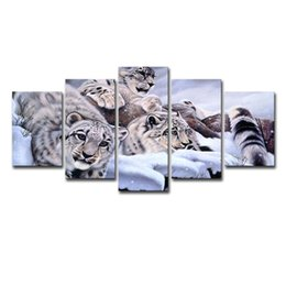 décor d'art mural imprimé léopard Promotion Peintures sur toile Wall Art Salon Home Decor 5 Piece Léopards de neige Photos Cadre Prints HD animaux Panthera uncia Posterr
