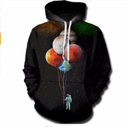 3d воздушные шары онлайн-2018 3D толстовки кофты мужчины космос астронавт Планета шар 3D печати мода творческий пуловер топы спортивные костюмы
