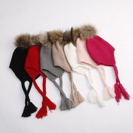 Wholesale Kid Hat Funny - Baby kids braid ears cap children knited hats girl faux fur pompons beanie knited hats baby girls crochet funny tassel hats 2-7T A00155