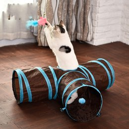 Wholesale Pet Tunnels Cats - Cat Tunnel Toys Foldable 3 Holes Pet Indoor Outdoor Training Rabbit Tent Funny Toy Rain Gauze High Quality 23yl V