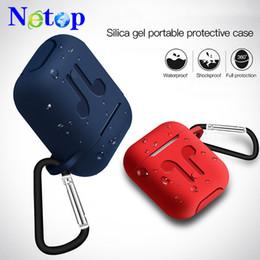 Para Airpods case airpod Silicone Capa Protetora Gancho + Strap + case Sem Fio Bluetooth Fones De Ouvido À Prova D 'Água anti-queda à prova de choque cor de