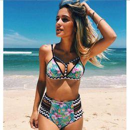 Wholesale Bikini Sets Swim Wear - 2018 New Bikinis High Waist Swimsuit Women Push Up Swimwear Women Sexy Print Brazilian Bikini Set Beach Bathing Suits Swim Wear