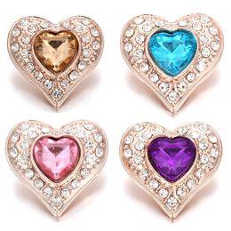pandora dangle heart heart charm Desconto 10 Pcs New Rose Botão Snap de Ouro Jóias Strass Cristal Amor Coração Snap Button para 18 MM Snap Pulseira Amor Jóias