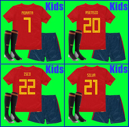 Wholesale Boys L - 2018 world cup Spain Kids kit soccer jerseys football Kits kids uniform with socks camisetas de futbol MORATA ASENSIO ISCO SILVA RAMOS PIQUE