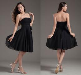 9596d63d23 2019 vestido de gasa plisado negro En venta Negro Simple Barato Corto Una línea  Vestidos de