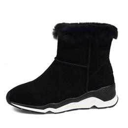 Zapato de invierno frío online-RizaBina frío invierno nieve zapatos mujeres piel real de cuero caliente dentro de tobillo botas mujeres plataforma gruesa invierno Botas tamaño 34-39
