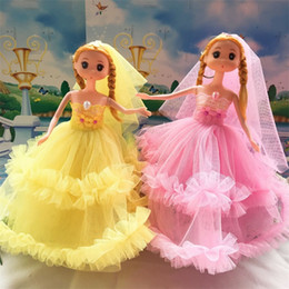 Wholesale lace baby doll dress - Fashion The Wedding Supplies Wedding Dress Lace Ddung Birthday Party Adornment Toys PVC Creative Barbie Doll 7 2sg W