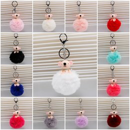 Wholesale Ball Bearing Keychain - Cute Bear Keychain Faux Rabbit Fur Ball Pom Pom Animal Keychain 13 Colors Car Bag For Bag Jewelry Free DHL D851L