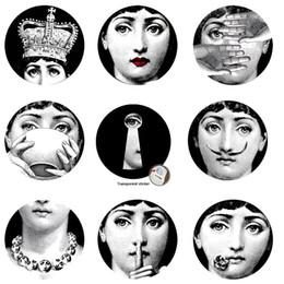 tuiles de son Promotion 2017 Fornasetti Papier Peint Designer 9 Pcs Milan Transparent Stickers Muraux Pour Décoration Murale Salon Cinq Taille À Shoose