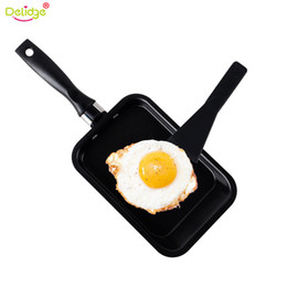 Wholesale Mini Pan Set - 2 Pcs Set Red Green Mini Non Stick Rectangle Grill Pan Carbon Steel Omelette Grilled Fish Bacon Family Kitchen Pans Cooking Tools
