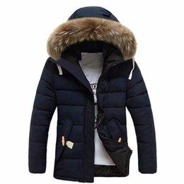 Wholesale man overcoats - Winter Thick Warm Cotton Hooded Plus Size Jacket For Men Faux Fur Collar Zipper Long Sleeve Overcoat Chaquetas Hombre M-3XL