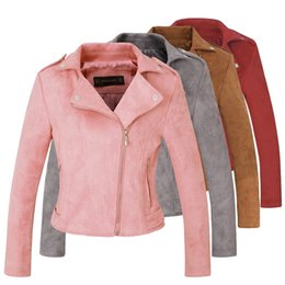 Wholesale Ladies Leather Jackets Sale - New Autumn Witner Women Motorcycle Faux PU Leather Pink Red Gray Jackets Lady Biker Outerwear Coat with Belt Hot Sale 4 Color