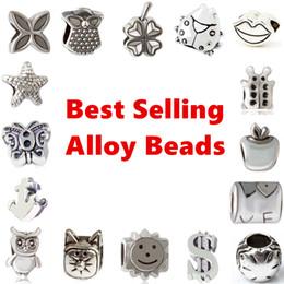Mejor estilo de cuentas online-Best Selling Alloy Charm Bead Loose Big Hole Fashion Women Jewelry Estilo Europeo Impresionante Para Pandox Pulsera Collar