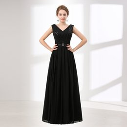 Wholesale Long Pretty Formal Dresses - Evening Party V-neck Black Elegant Long Formal Gowns Beadings Top Ever Pretty 2018 Vestido Longo Evening Dresses Real Photos 6615
