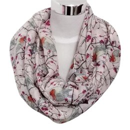 Wholesale Trees Branches Birds - Free Ostrich Winter Warm Scarves Women Bird Tree Branches Print Soft Ring Scarf Elegant Wraps Shawls Female D20