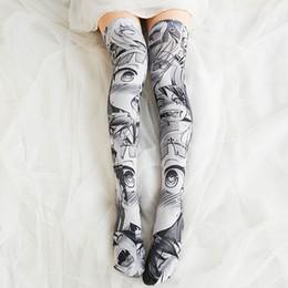 fc9beca1c Japanese Girls Big Anime Pattern cartoon Printed Stockings Girls Lolita  Velvet Overknee Tights Socks Cosplay Overknee Stockings