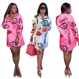 Wholesale Mini Sexy Summer Robes - Perspective Design Ladies Sexy Dress Long Sleeve Print Summer Dress Casual Shirt Dress Robe Femme