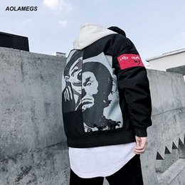 Wholesale clown jacket - Aolamegs Men Jacket Clown Printed Hip Hop Windbreaker Jackets Fashion Male Streetwear Coat Harajuku Autumn Outwear Plus Size 5XL