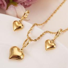 Argentina 24 k oro amarillo sólido lleno encantador corazón colgante collares pendientes mujeres niñas joyería del partido establece regalos diy encantos supplier heart set gold Suministro