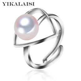 Wholesale Freshwater Black Pearl Set - whole saleYIKALAISI 2017 new Fashion 925 Sterling Silver jewelry For office Women 8-9mm Pearl Ring Jewelry Freshwater Pearl Triangle Ring