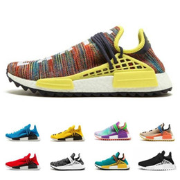 7eadfe0b4 2018 Human Race Pharrell Williams Hu trail NERD Men Women Running Shoes  Best Quality Seankers Yellow Blue Sports Shoes Size 36-47 on sale