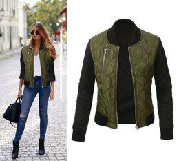 Cappotto basic da donna autunno e inverno Giacca bomber Casual Zipper Slim Giacca da donna alla moda con cerniera verde militare da