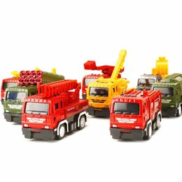 Wholesale Toy Cars Engine - 1:52 4pcs   set zinc alloy car model die cast toys vehicles diecast vehicle fire engine truck red construcktion education toy