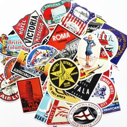 Wholesale hotel mirrors - 55Pcs Lot mixed Retro travel stickers Rimowa suitcase trolley stickers hotel nostalgic laptop stickers waterproof Doodle decal