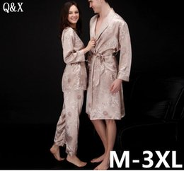 657d4f47e7 YT4 2018 Spring and Autumn Lady Pajamas Set Sexy Long Sleeve Faux Silk Sleepwear  Couple Pajamas Lover Women 3 Pieces Night Gown sexy couple sleepwear ...
