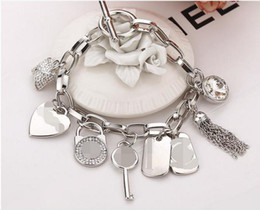 Wholesale Key Charms For Bracelets - 2018 new Alloy key bracelets with love heart gem 925 sterling silver or gold plated pendants Charm Bracelets Bangle jewelry for men women
