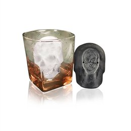 Bandeja de caveira on-line-Moldes de silicone Big Skull Bandeja De Gelo Ice Mould Whiskey Vinho Ice Cube Eco Friendly Acessórios de Cozinha de Verão 10 78fl gg