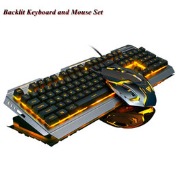 Wholesale Suspended Panel - Wrangler V1 Suspended Keycap USB Wired Ergonomic Backlit Gaming Keyboard and Mouse Set ,Mechanical Feel,Aluminium Alloy Panel