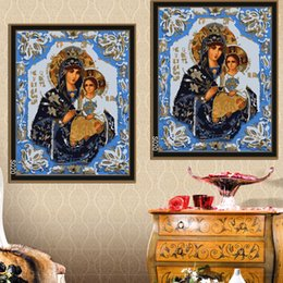 Wholesale Painting Canvas Jesus - High Quality oil painting Frameless Virgin Mary holding Jesus Icon Oil Painting By Numbers DIY Digital Pictures Coloring By Number On Canvas